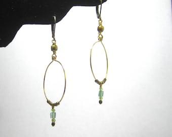 Peridot and Apatite Brass Hoop Earrings