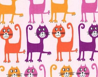Michael Miller Pets A Plenty Dancing Cats Coral fabric - 1 yard