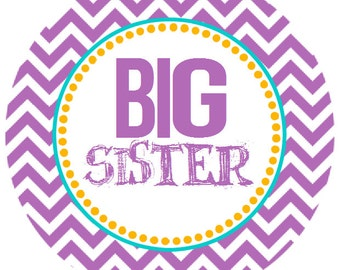 Big Sister Iron on Transfer - Purple Chevron
