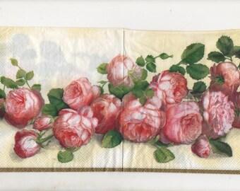 3266 lot 2 paper napkins roses old rose