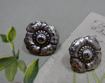 CORO Signed Sterling Silver Flower Screw Back Earrings  OFA24