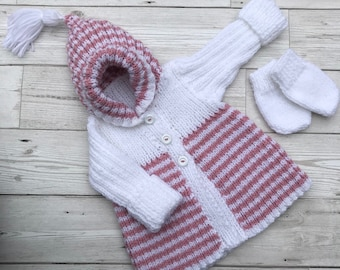 Hand knitted baby cardigan, 0-3 months baby sweater,pink and white baby knitwear, baby girl clothing, baby gift ideas, baby shower gifts