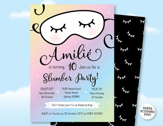 Pajama Party Sleepover Invitation Slumber Party Invitation