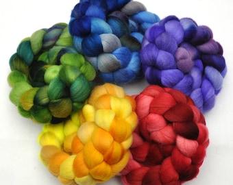 Hand Dyed Merino Rainbow Roving 5-Pack Wool spinning fiber - 10 ounces