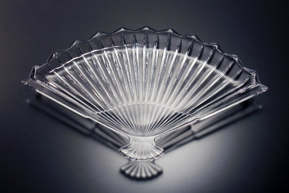 Fan Shaped Tray, Wright Glass, Ribbed Pattern, Pressed Glass, Serving Tray, Candy Dish, Trinket Dish, Vanity Dish, Decorative, Home Decor