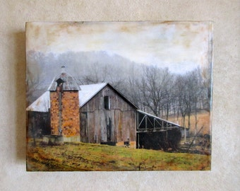 Encaustic photograph - Clarence's Barn
