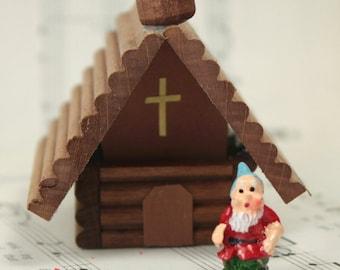 Wooden German Christmas Chapel  miniature gnome home miniature home diorama- 106-039