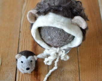 Hand Felted Hedgehog Bonnet and Stuffy Set; Newborn Photography Prop; MADE TO ORDER; Stuffed Animal; Needle Felted; Hedgehog; Woodland