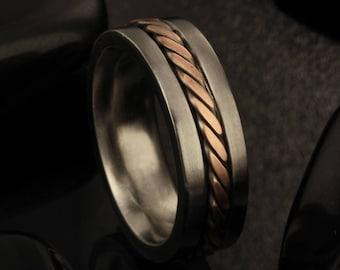 Men ring, Rustic Men's wedding Band, Men's Wedding Ring, Comfort Fit Ring, Silver Ring, Wide Men Wedding Band, 8 mm Ring, Men's Gift, -1234