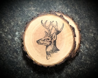 Country Rustic Buck Natural Wood Coaster Set of 2