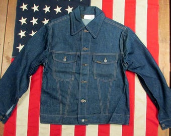 Vintage 1950s Roebucks Red Line Selvedge Denim Jacket Rivets Sz.38 New Old Stock