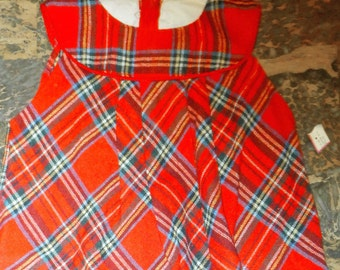 Vintage Lil Lollipop Red Plaid Little Girls Dress with Peter Pan Collar Size 6