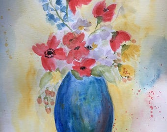 ORIGINAL Abstract Watercolor Flower Painting, Red Flowers in a Blue Vase