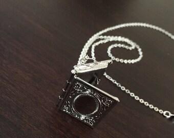 locket, locket necklace, silver locket, silver locket necklace, book locket, book necklace, book jewelry, book jewlery, book pendant