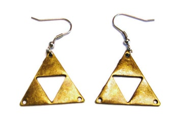 Large Triforce Zelda Earrings, Triforce Earrings,  Zelda Earrings, Metal  Legend Of Zelda Jewelry,  Triforce Jewelry