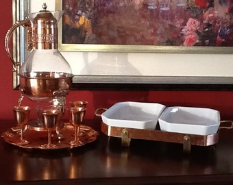 Copper & Glass Coffee Tea Warmer W/ Tiny Stems and Chafing Dishes W/ Stand