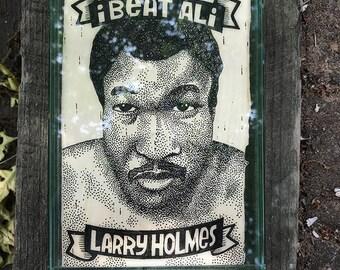 I Beat Ali: Larry Holmes. Ink on birchbark, 5x7.