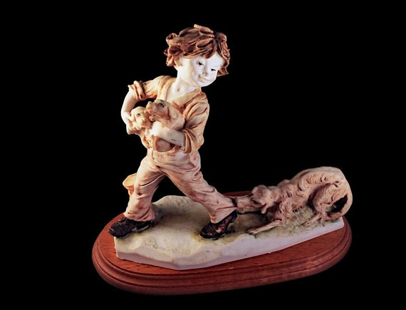 Figurine, Boy Puppies and Dog, Statue, Porcelain, Hand Painted, Wooden Base, Collectible
