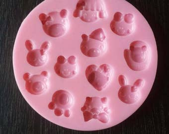 Cute tiny face mold - animal face mold - 010-006