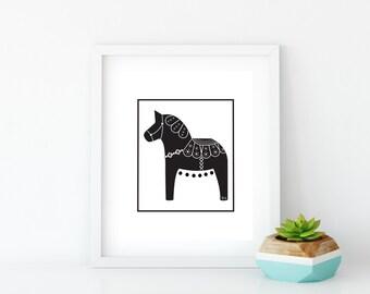 Black Dala Horse Art Print, Instant Digital Download