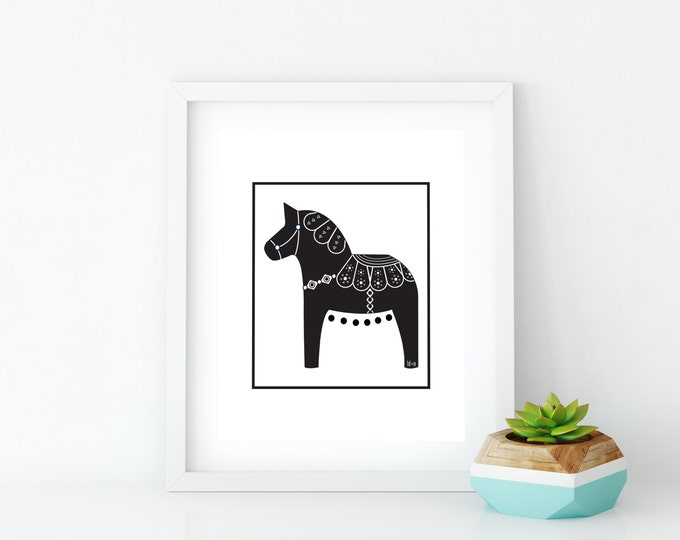 Black Dala Horse Art Print, Instant Digital Download