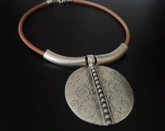 Leather Statement Necklace | Bohemian Leather Necklace | Ethnic Necklace | Collar | Boho Round Pendant Necklace | Silver Plated Necklace