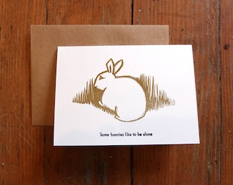 Some Bunnies Like to Be Alone linocut letterpress greeting card