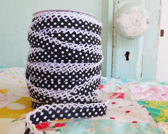 Black Polka Dot Crochet Edge Double Fold Bias Tape (No. 14)