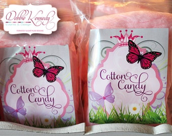 Princess Garden Printable Birthday Cotton Candy Tags - Pink and Purple - DIY Print - Butterfly Party - Instant Download