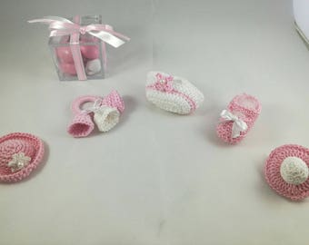 Christening party favors crocheted CAP, pacifier, handbag, rattle, Bootie