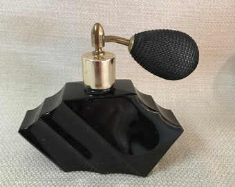 Vintage Art Deco Perfume Bottle -  Atomizer Bulb  - Visions  - Made in Austria - Visions Perfume Bottle  - Black Glass Perfume Bottle