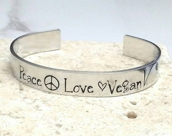Peace love vegan cuff bracelet, handstamped