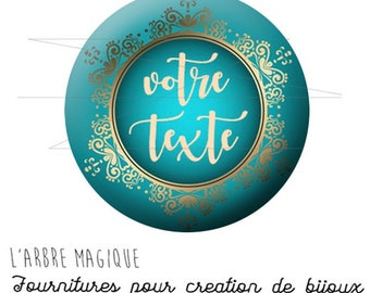 customizable text electives baroque retro gold turquoise cabochon