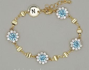 Gold Personalized Bracelet, Initial Bracelet, March Birthstone Bracelet, Aquamarine Bracelet, Friendship Bracelet, Bridesmaid Gifts