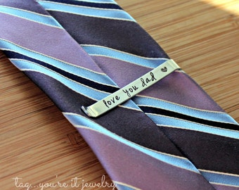 Hidden Message Tie Bar - Father's Day tie bar - Wedding Tie Bar - Groom Gift - Groomsman Gift - Gift for Him - Gift for Grandpa - Tie Clip