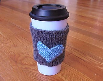 Handknit Heart Pocket Coffee Cozy