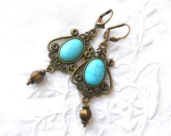 victorian chandelier earrings turquoise chandelier earrings turquoise earrings bronze and turquoise Victorian style earrings