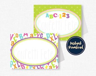 ABC123 Buffet Cards, Place Cards, Alphabet Food Labels, Alphabet Party Decorations, Printable INSTANT DOWNLOAD