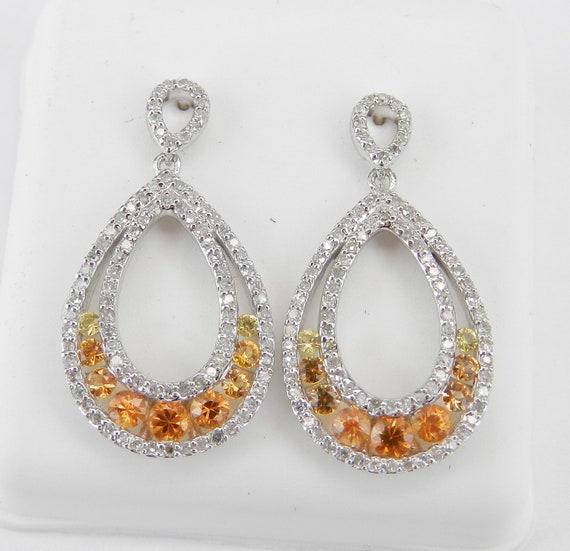 14K White Gold Yellow Orange Sapphire and Diamond Dangle Drop Earrings