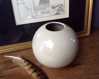 Mid century Ball Vase Modern Ceramic Ball  Container Beige Putty Color Round Sphere Flower Vase
