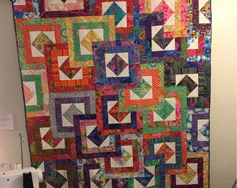 "62 x 71 quilt, ""Stacked up"" using Kaffe Fassett fabrics."