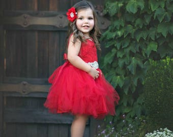 Red flower girl dress, Flower girl dresses, flower girl dress lace, rustic flower girl dress, Red Christmas dress, baby dress, tulle dress