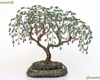Peppercorn Wire Tree Sculpture. Green Beaded Weeping Tree. Nature Decor. Made to Order - Custom