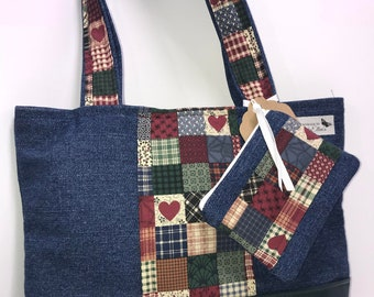 Mini Denim Rustic Hearts Tote with zippered pouch