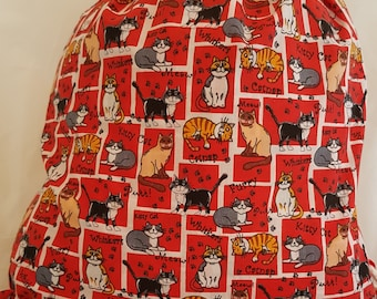 Cartoon cat draw string bag