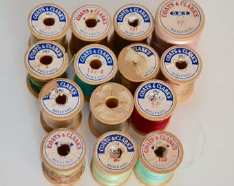 Vintage Wooden Spools of Thread, Coats and Clarks - Set of 14