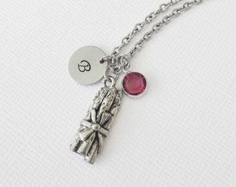Asparagus Necklace 3D Charm Spears Bundle Vegetable Jewelry Swarovski Birthstone Silver Initial Personalized Monogram Hand Stamped