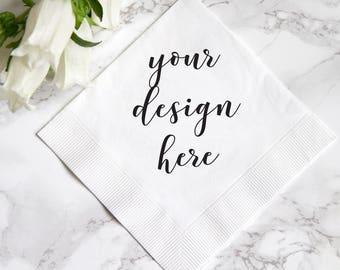 Design Your Own Beverage Napkins - Custom Logo - Custom Foil Stamped Napkin - Custom Napkin - Branded Napkins