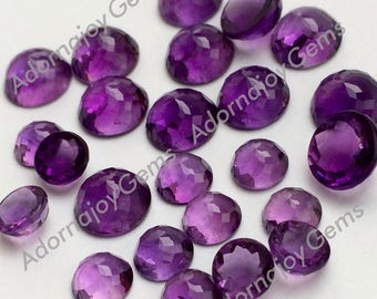 Amethyst 6mm Gemstone Cabochon Rose Cut Micro Faceted FOR ONE