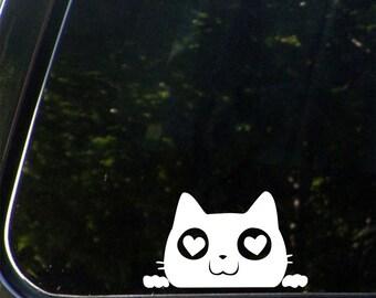 "CAR - Cat Peeking Over w Love Heart Eyes - Vinyl Car Decal Sticker - Copyright 2014 © YYDC  (4.5""w x 2.5""h)(Color Choices)"